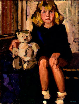 Portrait of a little girl with her teddy bear